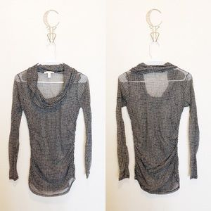 Anthro Weston Wear Sheer Ruched Cowl Neck Top